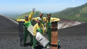 Getting ready to 'snowboard' down a volcano.